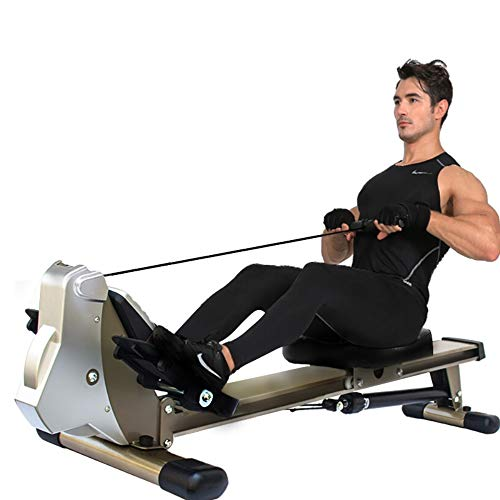 Best Buy! LQRYJDZ Elastic Cord Magnetic Rowing Machine Rower w/LCD Monitor Capacity Row Machine Exer...