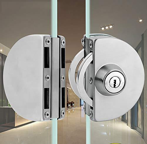Qrity Cerradura de Puerta de Vidrio, Cerradura de Seguridad Antirrobo de Puerta de Vidrio de Acero Inoxidable de 10~12 mm con Llaves para...