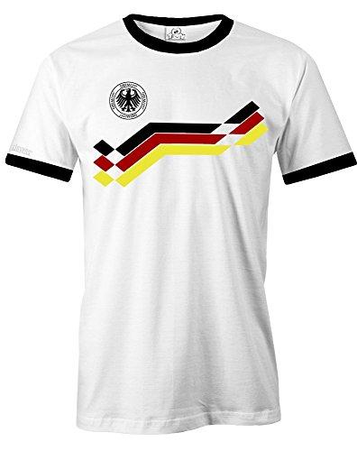 Deutschland Retro 90 - WM 2018 - Herren - T-Shirt in Weiss Gr. L