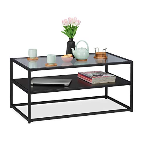 Relaxdays salontafel, plank van MDF, glas & metaal, modern design, edele woonkamertafel, h x b x d h x d, zwart, metaal, glas, 42 x 90 x 50 cm