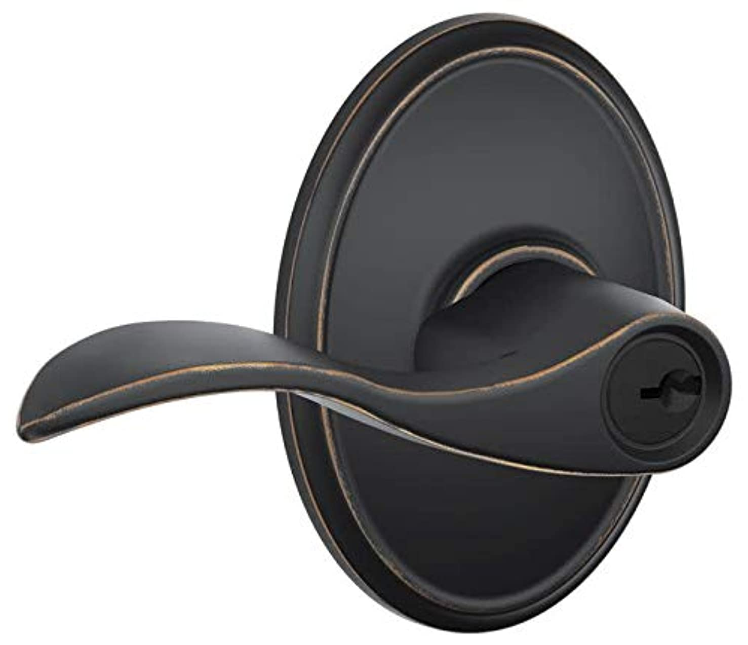 Schlage F51AACC716WKF Aged Bronze Accent Keyed Entry F51A Panic Proof Door Lever with Wakefield Rosette