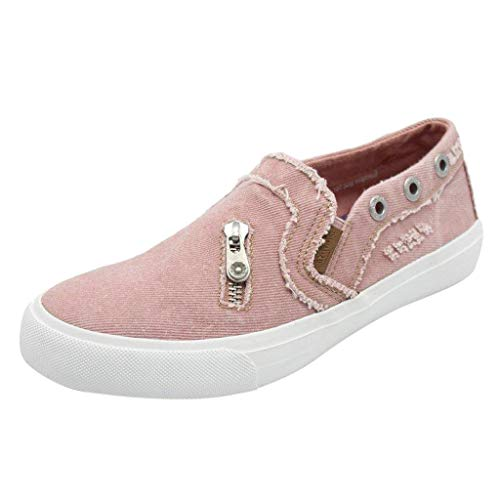TIFIY Sandalen Damen, Frauen Erbsen Schuhe Flach Mit Bunten Hausschuhe Einzelne Schuhe Reißverschluss Strandschuhe(Rosa,EU 39)