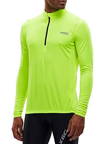 Herren Langarm Radtrikot Fahrradtrikot Radshirt Fahrradshirts Fahrradbekleidung für Männer mit Elastische Atmungsaktive Schnell Trocknen Stoff (Green, XXL)