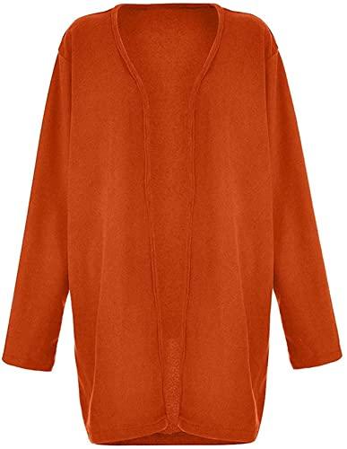 Abrigo de felpa de manga larga para mujer, naranja, L