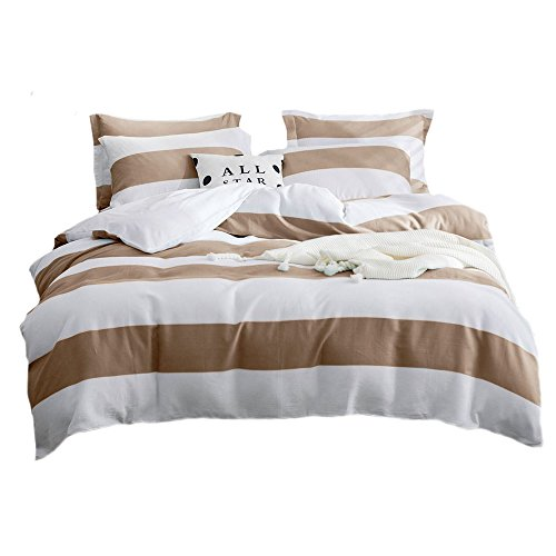 UMI. Essentials 100% Cotton Yarn Dyed Waffle Duvet Cover Set with Two Pillow Cases,Double