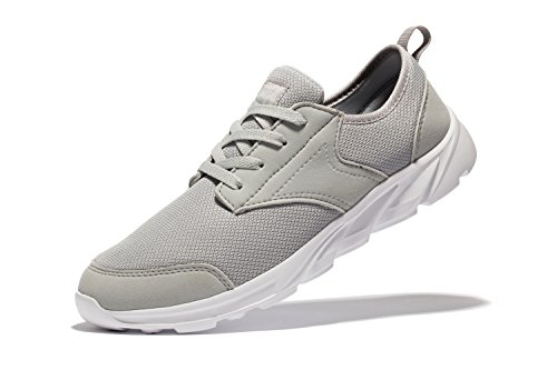 newluhu Mens Breathable Mesh Soft Sole Casual Comfortable Lace-Up Running Shoes,Walk,Outdoor,Exercise,Athletic Sneakers (11US/45EU, Grey)
