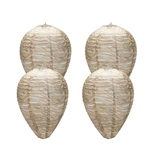 Eashome Wasp Nest,Decoy Hanging Fake Wasp Nest,Natural Non-Toxic Paper Decoy Safe Fake Trap Effective Eco Friendly Paper Wasp Nest for Garden,Outdoors Brown 4 Pack