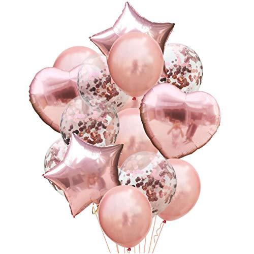 Oblique Unique® 14 Deko Ballons Konfetti Folien Luftballon Set mit Herzen Sternen für Geburtstag Feier Jubiläum Hochzeit JGA Party Roségold Champagner