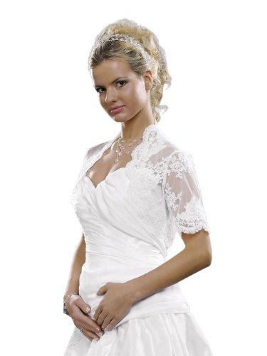 Braut Bolero Jacke bestickte Spitze zum Brautkleid - E86, Weiß, XL