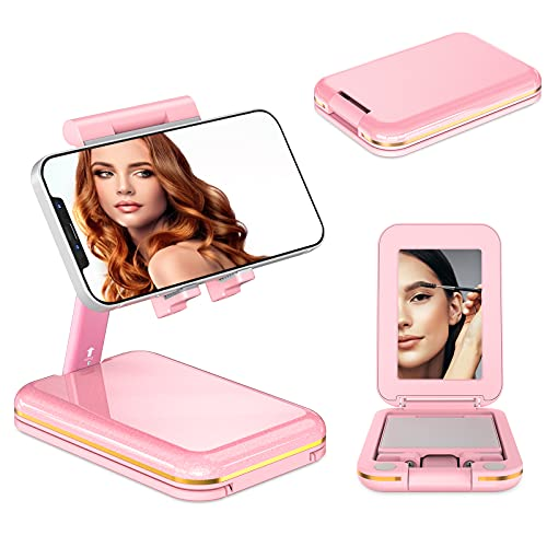 TIANLI Cell Phone Stand for Desk, Phone Holder Cradle Dock with Make-up Mirror Foldable Storage Extendable Angle Height Adjustable iPhone Stand for Women Compatible with All Mobile Phone/Samsung,Pink