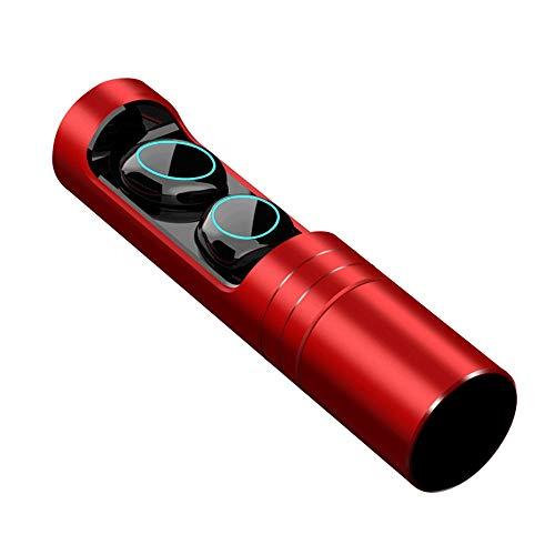 QCHEA TWS True Auriculares Inalámbricos Bluetooth 5.0 Auriculares Estuche De Carga Hi-Fi Sonido De Graves Profundos Auriculares De Control Táctil A Prueba De Agua (Color : Red)