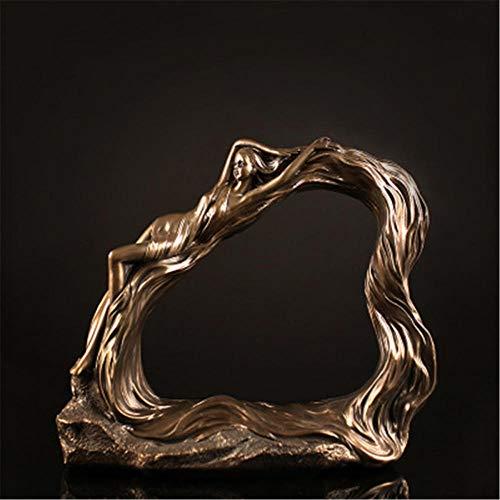 DJMDF Belleza Figura Escultura Resina Manualidades Hogar Hotel Decoración TV Gabinete Joyería Decoración del Hogar Decoración