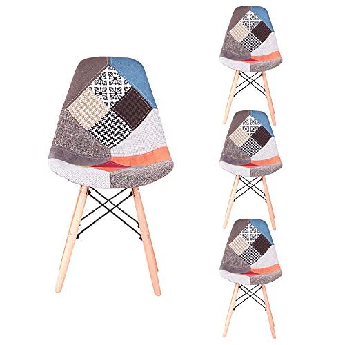 GrandCA HOME Set di 4 Sedie,sedie Patchwork di Lino Sedie da Soggiorno Sedie da Pranzo con Schienale con Cuscino Morbido (Rosso)