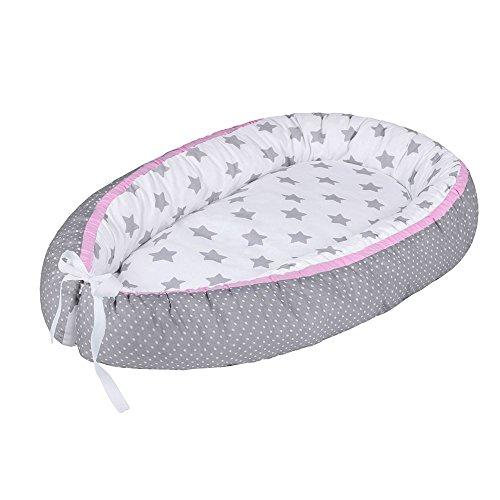 LULANDO Babynest, multifunktionales Kuschelnest für Babys und Säuglinge, Nestchen, Reisebett, 100{7e147b741c9eb38c1f939d0667ffd902b803dd560f0876d250c915af7f78abe2} Baumwolle, antiallergisch, Standard 100 von Oeko-Tex, hergestellt in der EU, Maße: 80cm x 45cm x 15cm