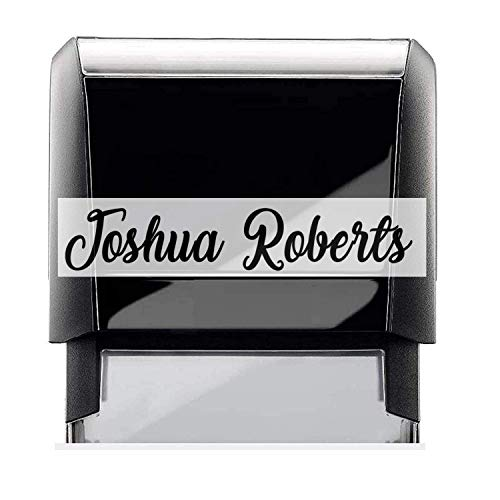Self-Inking Personalized. Name Signature Style Stampers, Modern Style Font Great Signing Stamp Color Choice; Black, Blue, Green, Purple or Red.