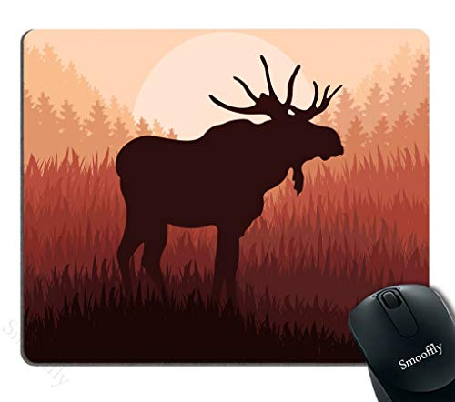 Smooflly Moose Mouse Pad,Antlers in Wild Alaska Forest Rusty Abstract Landscape Design Deer Theme Mouse Pad 9.5 X 7.9 inches