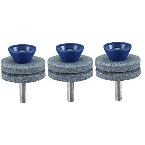 JBNS Doble Capa Muela Césped Afilador Universal Multi-Sharp Rotary Césped Cuchillas del Cortacésped para Cualquier Mano Poder Taladro Azul 3 Piezas