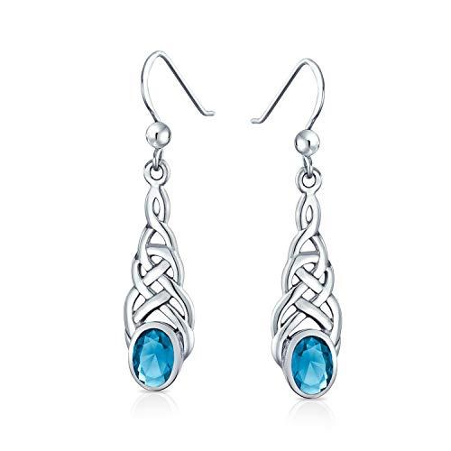 Blue Topaz Oval Gemstone Irish Love Celtic Knot Dangle Earrings For Women Teen .925 Sterling Silver Fish Wire Hook December Birthstone