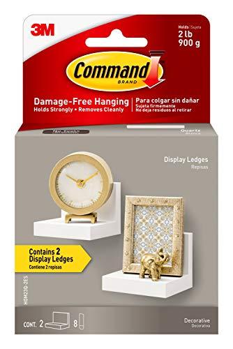 Command Display Ledges, Quartz, 2-Ledges, 8-Medium Foam Strips, Decorate Damage-Free