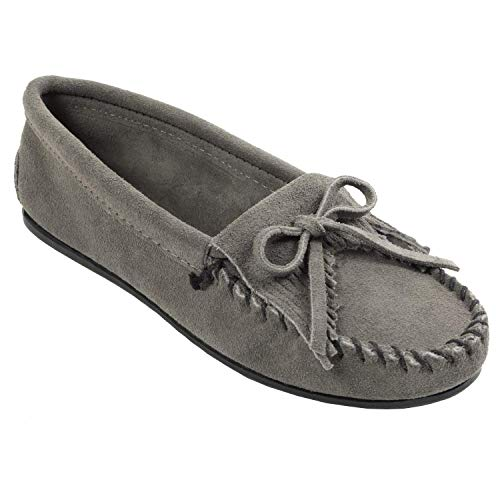 Minnetonka Women's Kilty Moccasin,Grey,10 M US