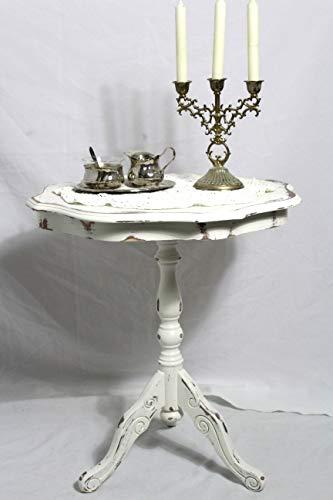Shabby Tischchen bezaubernder alter Holz Beistelltisch/Blumentisch creme weiß 40er Jahre Shabby Chic Möbel Vintage Landhaus