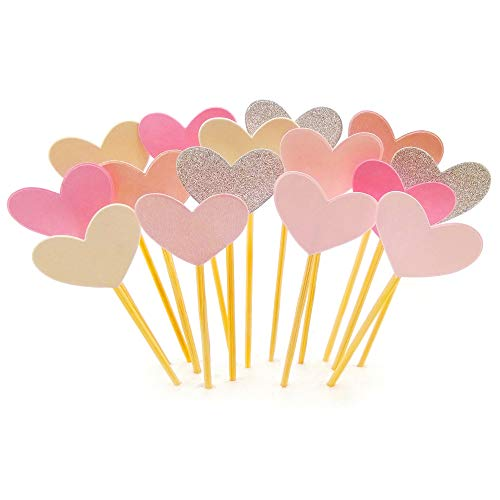 Cake/Cupcake Toppers, Pink Heart Glitter, 50 Pcs