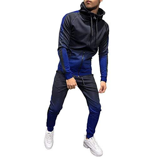Aiserkly Herren Fitness Jogginganzug Sportanzug Trainingsanzug Herbst Winter Packwork Print Jogging Anzug Sweatshirt Top Hosen Sets Blau 3XL