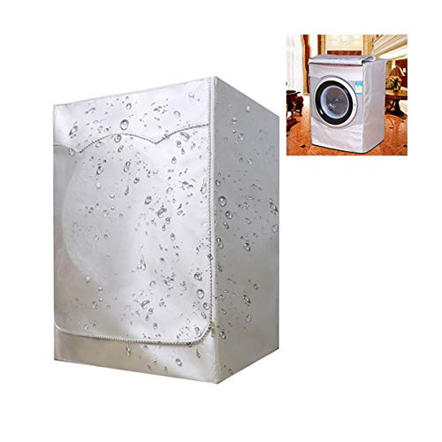 Cubierta para lavadora, resistente al agua, al polvo, antienvejecimiento, protector solar y humos grasos, para la mayoría de lavadoras y secadoras de carga frontal, 85 x 60 x 55 (plateado)