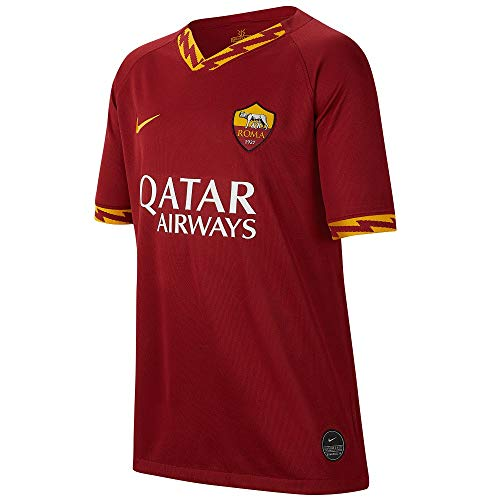 Nike Roma Y BRT Stad JSY SS HM Maglietta Sportiva Maniche Corte, Unisex Bambini, Team Crimson/(University Gold) (Full Sponsor), S