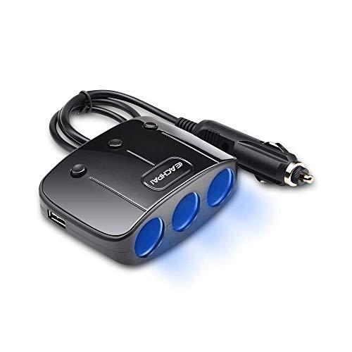 EACHPAI Car Cigarette Lighter Splitter Adapter 3 Socket Cigarette Lighter Splitter Dual USB Car Charger On/Off Switches 12V Car Splitter Adapter