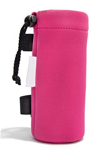 Porta bibita bottiglia o biberon da passeggino universale, con pratico aggancio velcro (rosa)