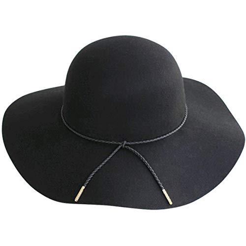 Lanzom Women Lady Retro Wide Brim Floppy Panama Hat Belt Wool Fedora Hat (A-Black, One Size)