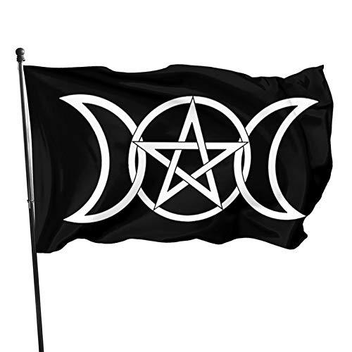 YeeATZ 3x5 Foot Triple Moon Goddess Wicca Pentacle Flag New