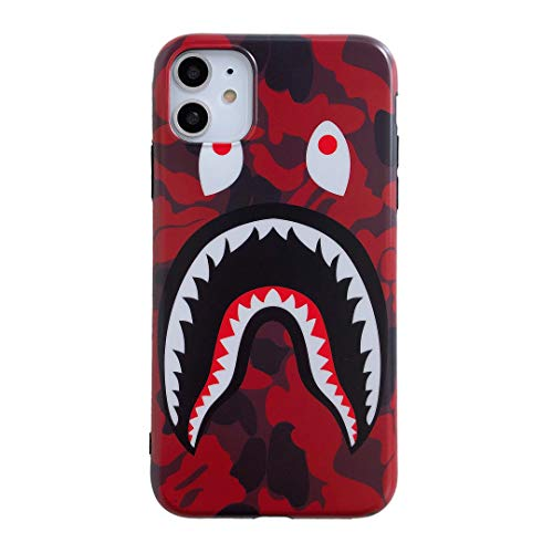 iPhone 11 Street Fashion Shark Face Soft Case,IMD Tech Sleek Texture Anti-Scratch Ultra-Thin Shockproof Case for iPhone 11 6.1inch (Camo Red)
