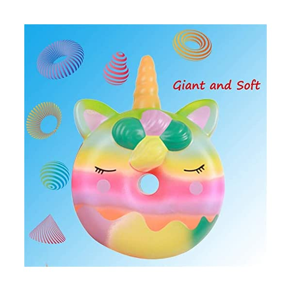 YXJC Fun Toys Squishies, Unicorn Donuts Squishy, Oversized Creamy Aroma Slow Rising Squeeze Toys for Stress Relief 6