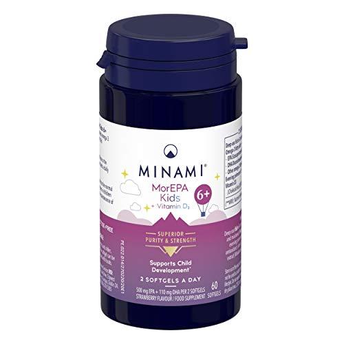 Minami - MorEPA Kids 6 Plus - Omega 3 Fish Oil for Children Development - High EPA & DHA Formula Plus Vitamin D - 500mg EPA & 110mg DHA per Serving - for Immunity and Growth - 60 Softgels