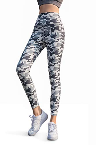Camo Sport - Women's Stretchy High Waisted Yoga Leggings Pants 7/8 Length with Pockets Tummy Control (Grey Camo, XS)