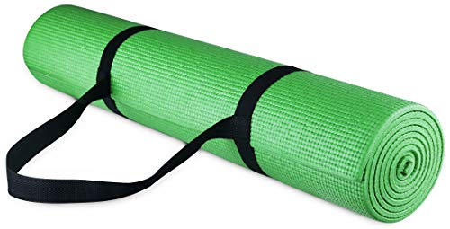 BalanceFrom GoYoga All Purpose High Density Non-Slip Exercise Yoga Mat with Carrying Strap, 1/4', Green