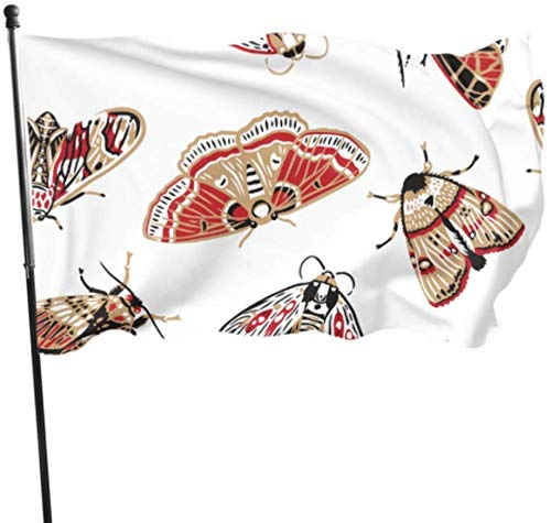 ShiHaiYunBai Flagge/Fahne, Beautiful and Bright Cartoon Moth Decorative Home Flags Holiday Yard Flags Set 3x5 Feet Vibrant Colors Quality Polyester and Brass Grommets