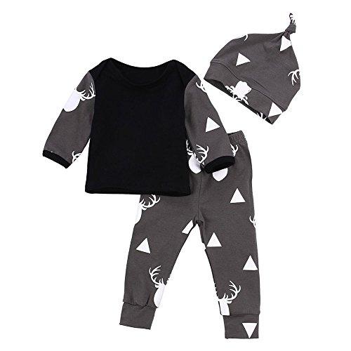❤️Gmgod❤️❤️Newborn Baby Girl Boy Clothes Deer Tops T-Shirt+Pants Leggings 3pcs Outfits Set (Black, Age: 6 Months Old)