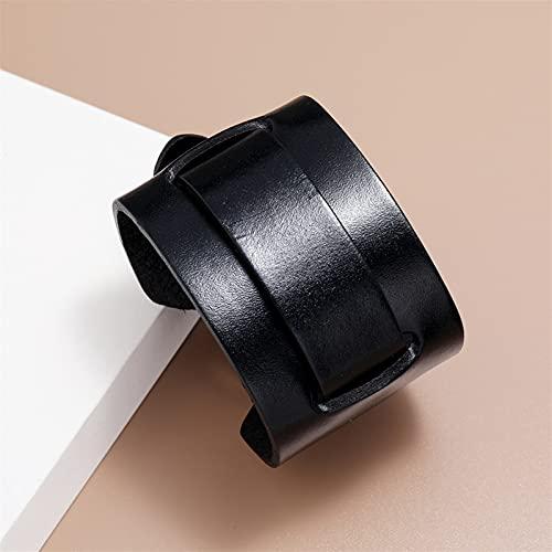 ACEACE Capa Ancha Brazalete Negro Material de Cuero Genuino Punk Hombres Reloj Pulsera Joyería Geométrico Puño Joyería (Metal Color : Black)