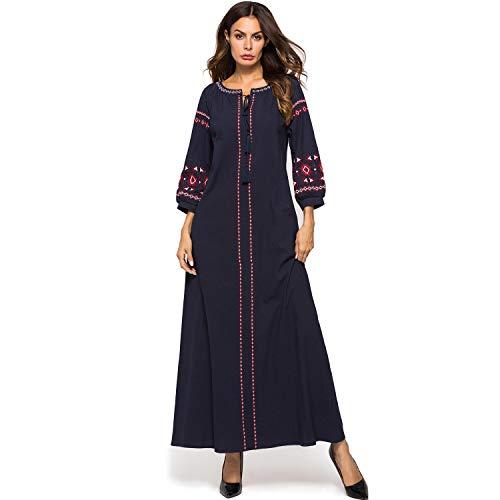 Rcsinway Dames verliezen toevallige temperament jurk Womens grote maat geborduurde jurk gewaden katoen en linnen kleding (Color : Blue, Size : L)