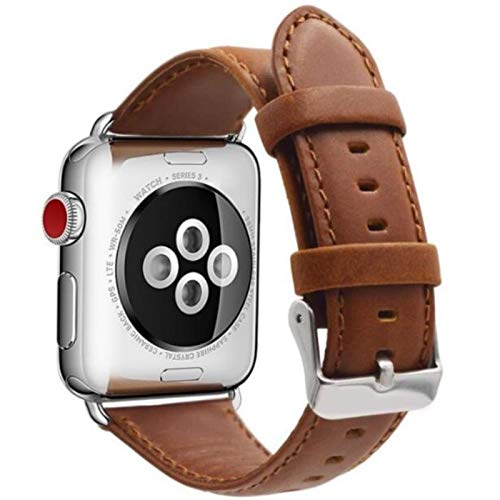 Correa de cuero para Apple IWatch 42 mm 38 mm 40 mm 44 mm Correa de pulsera para Apple Watch Series Se 6 5 4 3 2 1-marrón claro-plateado, 38 mm Serie 1 2 3