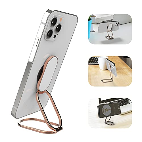 APEKX Soporte para dedo con anillo para teléfono Soporte plegable para teléfono celular Agarre ajustable para teléfono inteligente de mano Metal magnético Compatible con Samrtphone y iPhone-Oro rosa