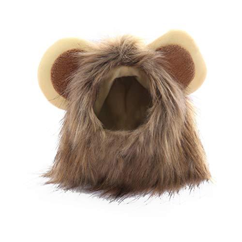 POPETPOP Divertente gatto piccolo cosplay leone parrucca testa cappello con cappuccio per cuccioli di gatto autunno inverno vestire costume silenziatore sciarpa - taglia S