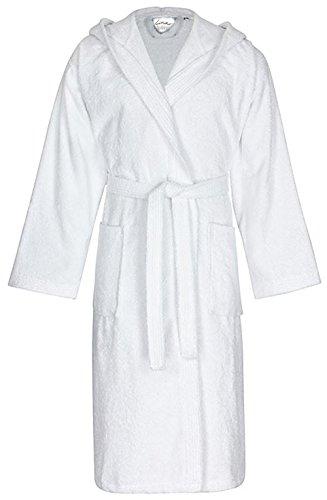 Linie-Naturelle Microfibre/Peignoir en Tissu éponge avec Capuche, Taille L, Blanc