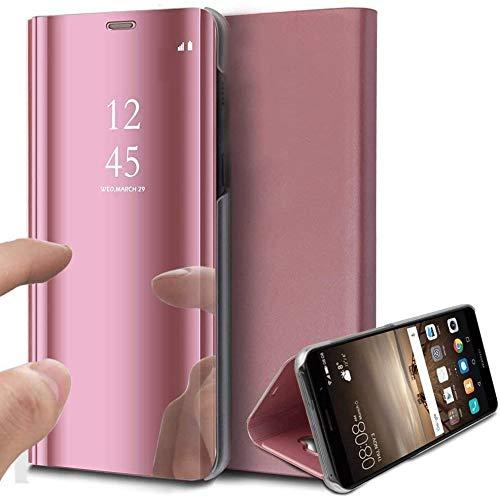 Caler Case Compatible con Samsung Galaxy S7 Funda de Cuero PU Espejo Brillante Clear View Modelo Fecha Duro Cover Flip Tapa Libro Soporte Plegable Ventana de Espejo Transparente Carcasa(Oro Rosa)