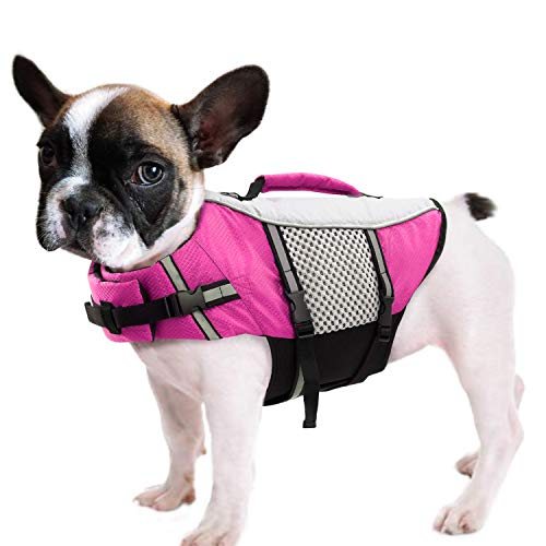 Queenmore Dog Life Jacket Swimming Vest Lightweight High Reflective Pet Lifesaver with Lift Handle, Leash Ring Pink,XS