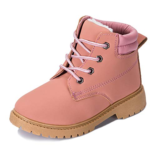 Kkomforme Toddler Hiking Snow Boots,Kids Lace-Up Ankle Boots Boy Girl Waterproof Outdoor PU Leather Workboots, Classic Winter Martin Boots(Toddler/Little Kid/Big Kid) Pink