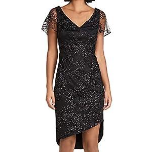 Marchesa Notte Women's Flutter Sleeve Flock Glitter Tulle Side Ruch Dress